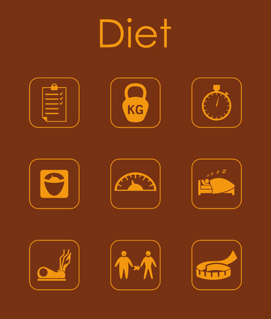 Set of diet simple icons Illusztráció