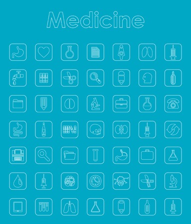 Set of medicine simple icons Stock Vector - 84284042