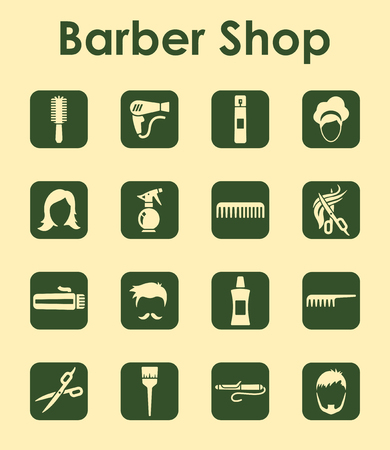 It is a set of barbershop simple web icons