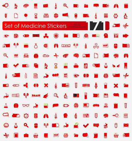Set di adesivi di medicina illustrazione vettoriale.