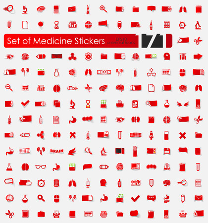 Set of medicine stickers vector illustration.