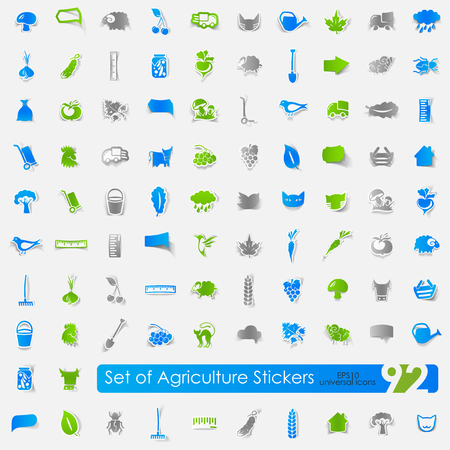 Set of agriculture stickers vector illustration.
