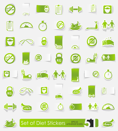 Healthy diet and lifestyle sticker icons with shadow. Paper Ilustração