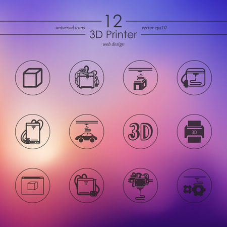 3D printer modern icons for mobile interface on blurred background