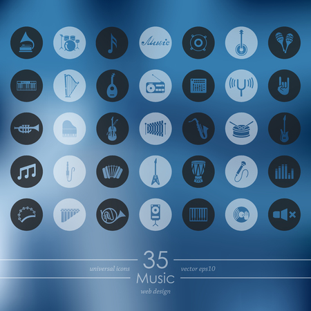Music modern icons for mobile interface on blurred background Illustration