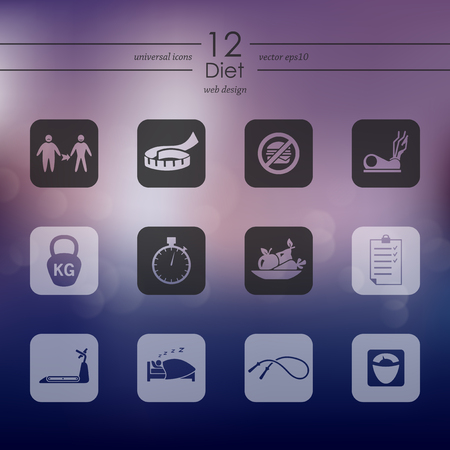 Diet modern icons for mobile interface on blurred background