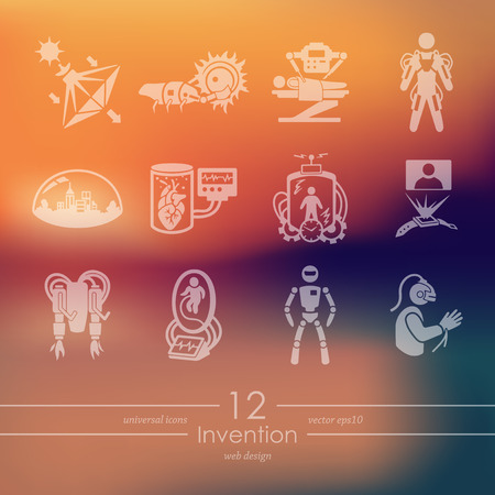 Invention modern advancement  icons for mobile interface on blurred