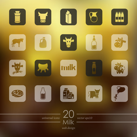 Milk modern icons for mobile interface on blurred