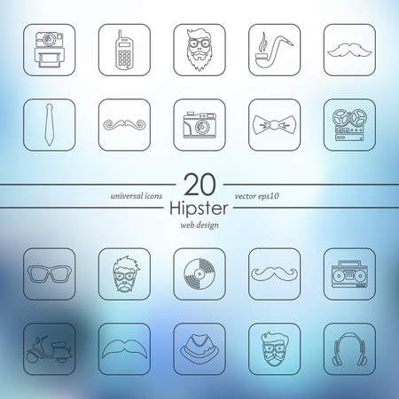 Hipster modern icons for mobile interface on blurred