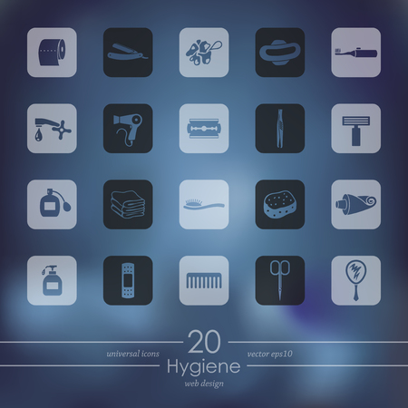 Hygiene modern icons for mobile interface on blurred