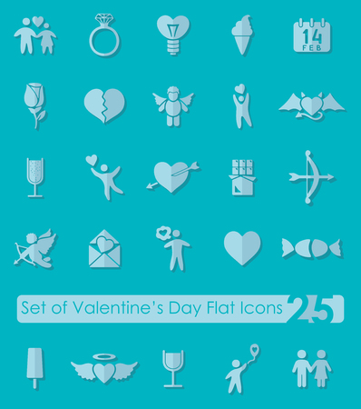Set of Valentines Day flat icons for Web and Mobile Applications 向量圖像