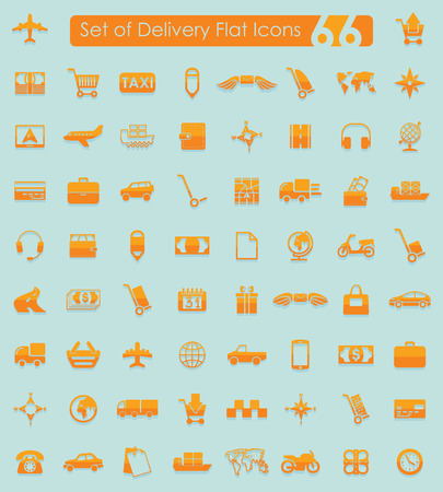 Set of delivery flat icons for Web and Mobile Applications Illustration