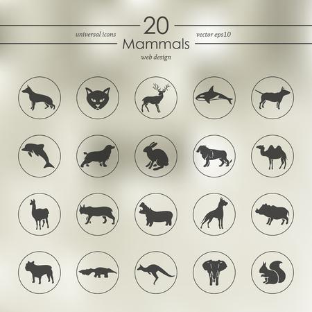 Set van zoogdieren iconen vector illustratie.