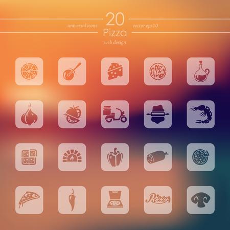 Set van pizza pictogrammen vector illustratie. Stock Illustratie