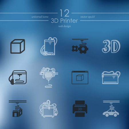 Set of 3d printer icons vector illustration.