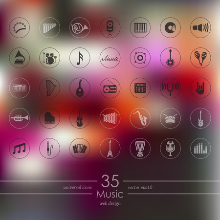 Set of music icons vector illustration.