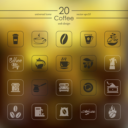 Coffee modern icons for mobile interface on blurred