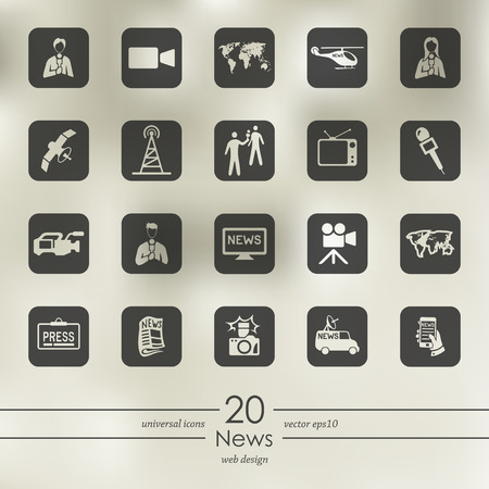 News modern icons for mobile interface on blurred background