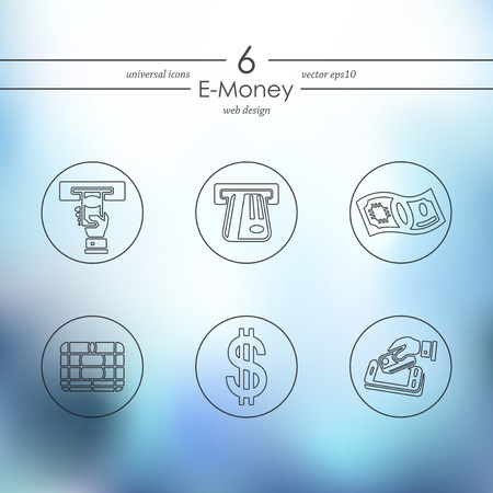 E-money modern icons for mobile interface on blurred