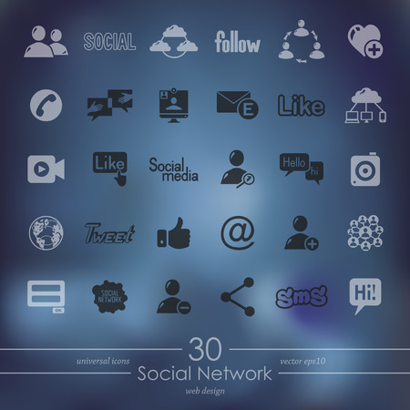 Social network modern icons for mobile interface on blurred
