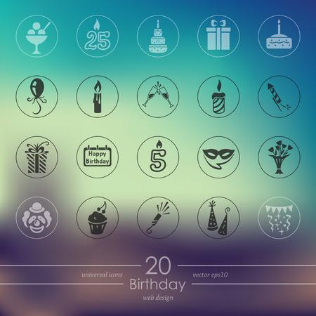 誕生日のモバイル インターフェイスのモダンなアイコンがぼやけています。