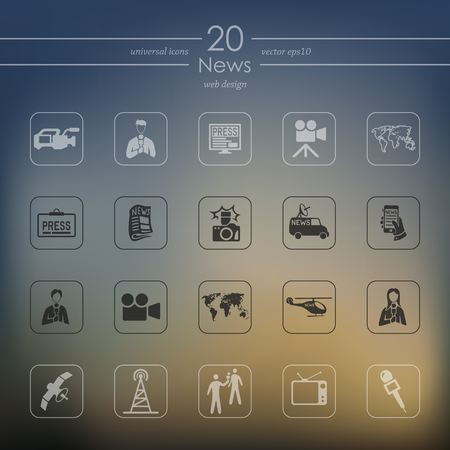News modern icons for mobile interface on blurred
