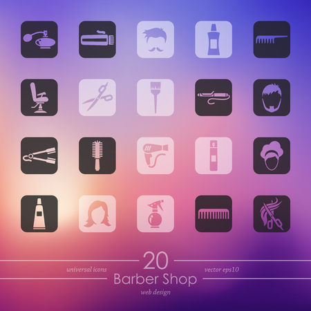 Barber shop modern icons for mobile interface on blurred