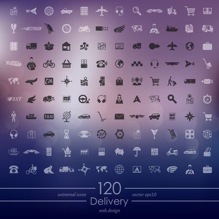 Delivery modern icons for mobile interface on blurred
