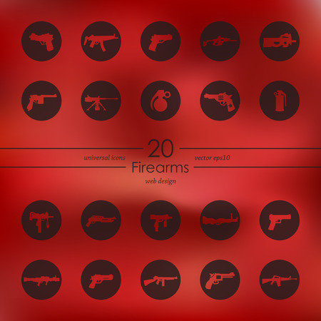 Firearms modern icons for mobile interface on blurred