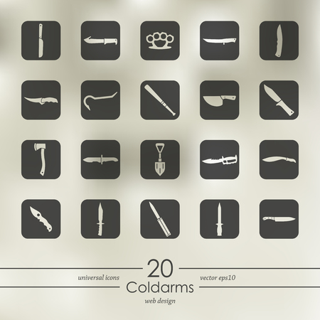 Cold arms modern icons for mobile interface on blurred