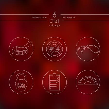 ダイエットのモバイル インターフェイスのモダンなアイコンがぼやけています。
