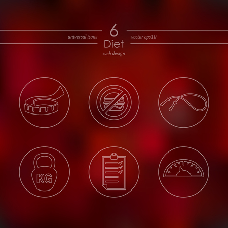 Diet modern icons for mobile interface on blurred Illusztráció