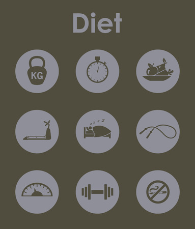 Set of diet simple icons Иллюстрация