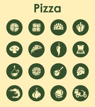 Het is een set van pizza eenvoudige web iconen