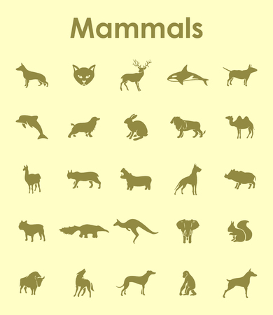 It is a set of mammals simple web icons