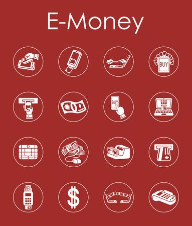Set of e-money simple icons Illustration