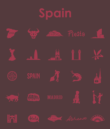 スペインのシンプルなアイコンのセット  イラスト・ベクター素材