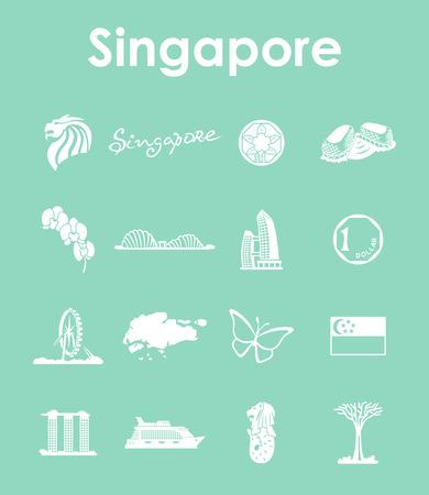 シンガポールのシンプルなアイコンのセット  イラスト・ベクター素材