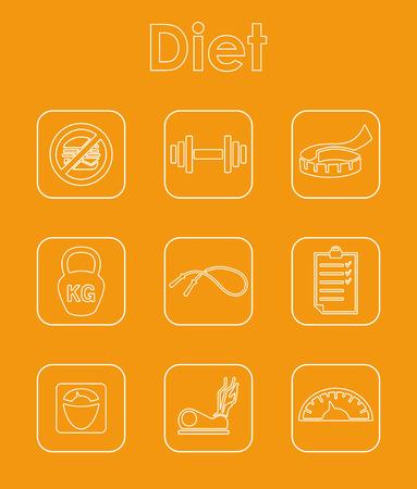 ダイエットシンプルなアイコンのセット