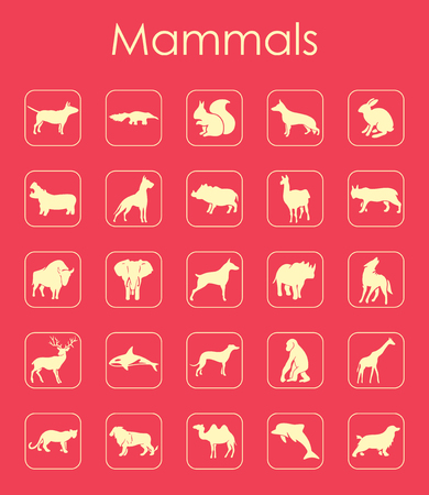 Set of mammals simple icons
