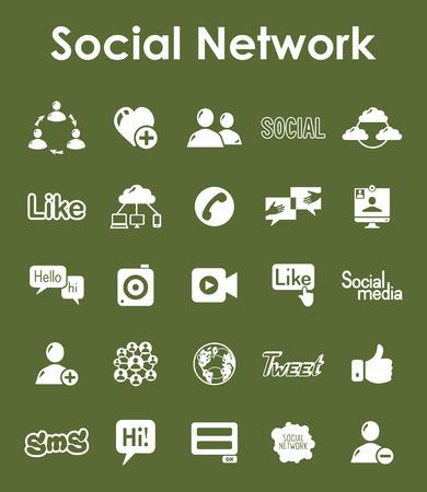 소셜 네트워크 간단한 아이콘 세트 일러스트
