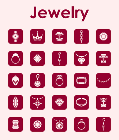 Set of jewelry simple icons.