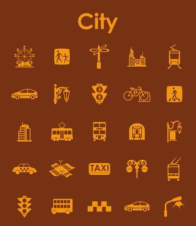 Set of city simple icons 向量圖像
