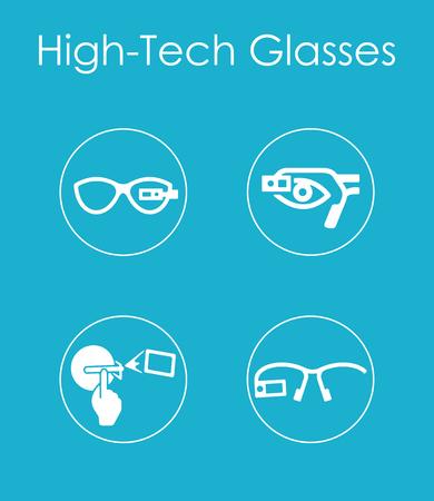 Set of high-tech glasses simple icons Фото со стока - 85038495