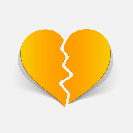 Realistic design element: broken heart.
