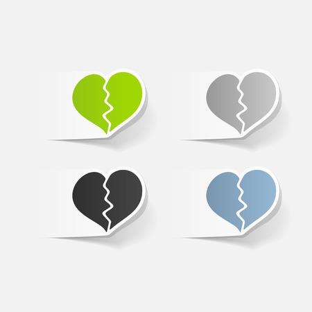 romantic date: Realistic design element: broken heart.