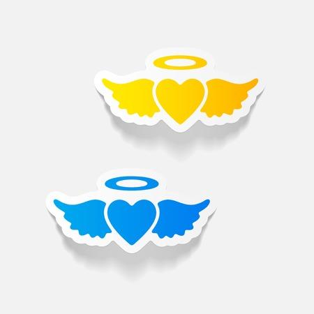 Realistic design element: heart angel.