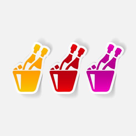 現実的なデザイン要素: シャンパン。  イラスト・ベクター素材
