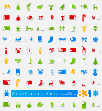 Set of Christmas stickers Illustration