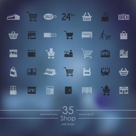 Set van winkel pictogrammen Stock Illustratie